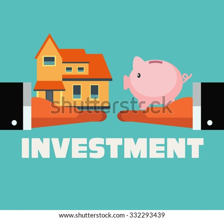 Two hands with piggy bank and dreaming house. Saving and investing money concept. Future financial planning concept. Modern vector flat design. Insurance, credit cards, mortgages and banking service - stock vector