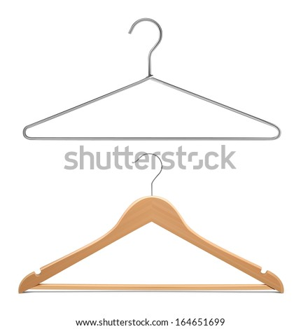 Two hangers isolated on white background. Vector illustration. Realistic. - stock vector