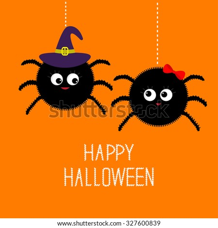 two hanging spider insect family couple boy girl witch hat happy halloween card