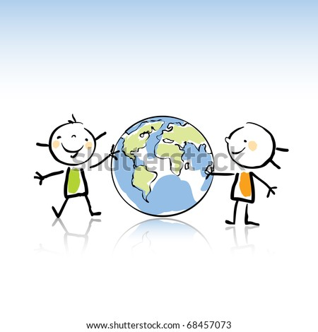 two happy kids holding the globe vector illustration,peace on earth concept in children's drawing style series. see more images related - stock vector