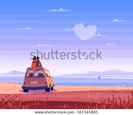Two Happy lovers sitting on the roof of the car and look at the sea. Modern design stylish illustration. Retro flat vector background. Valentine's Day Card. - stock vector