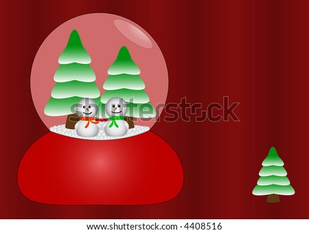 Two happy snowmen in love in glass