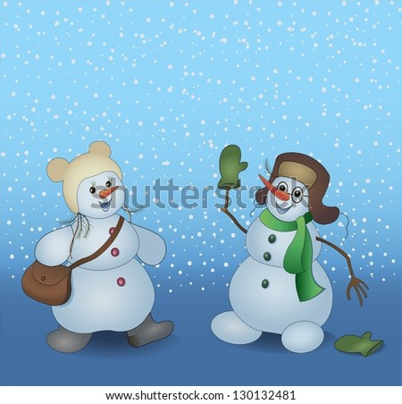 Two happy snowmen on the snowing background - stock vector