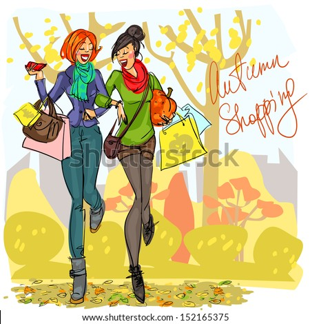 Two happy women with shopping bags and pumpkin walking at park. - stock vector