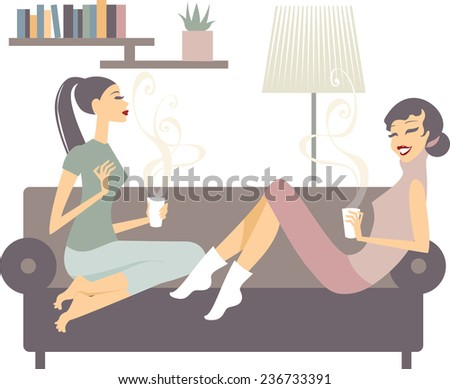 Two happy young female friends with coffee cups conversing in the living room at home - stock vector