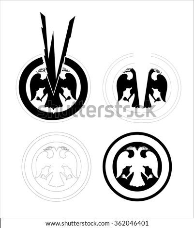 two-head eagle - stock vector