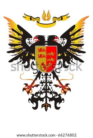 Two-headed eagle with a shield and a ribbon - stock vector