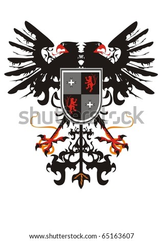 Two-headed heraldic eagle with a shield - stock vector