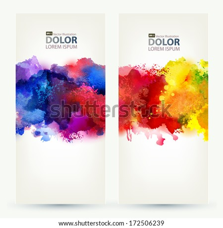 Two headers. Bright watercolor stains  - stock vector