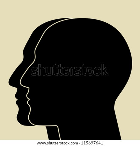 Two heads sIlhouette - stock vector
