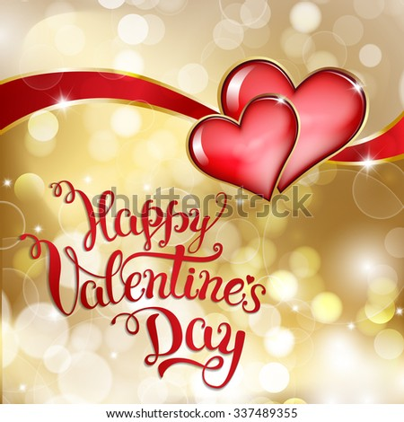 Two hearts and original hand lettering  Happy Valentine's day. Vector illustration for Valentine's day posters, icons, Valentine's day greeting cards, Valentine's day print and web projects. - stock vector