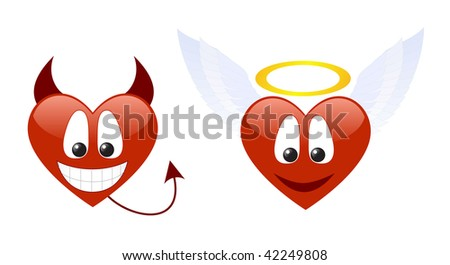 Two hearts characters isolated on a white background. Vector illustration. - stock vector