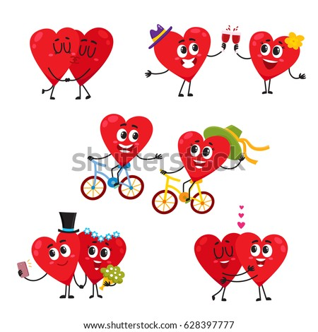 Two Hearts Doing Funny Activities Together Stock Vector ...
