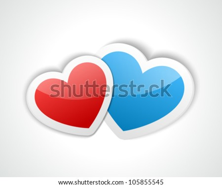 Two hearts from paper Valentines day vector illustration eps 10 - stock vector