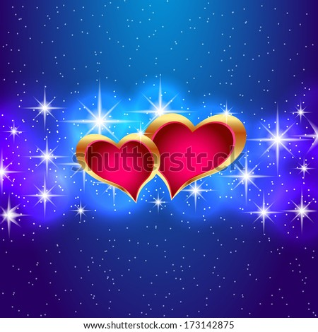 Two hearts in the starry sky. Vector eps10 illustration. - stock vector
