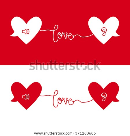 Two hearts love with speaker and ear inside and a love text make connection between them - stock vector