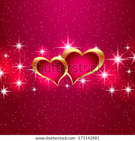 Two hearts on the starry background. Vector eps10 illustration. - stock vector