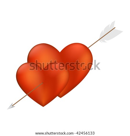 Two Hearts with Arrow isolated on a white background. Vector illustration.