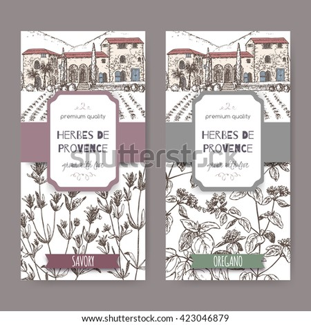 Two Herbes de Provence labels with mansion landscape, savory and oregano sketch. Culinary herbs collection. Great for cooking, medical, gardening design. - stock vector