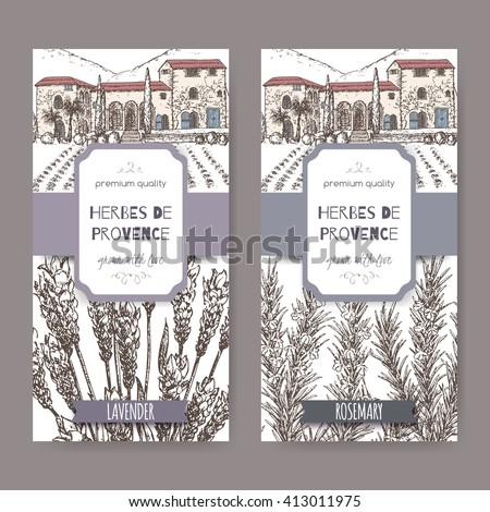 Two Herbes de Provence labels with Provence mansion landscape, lavender and rosemary sketch on white. Culinary herbs collection. Great for cooking, medical, gardening design. - stock vector