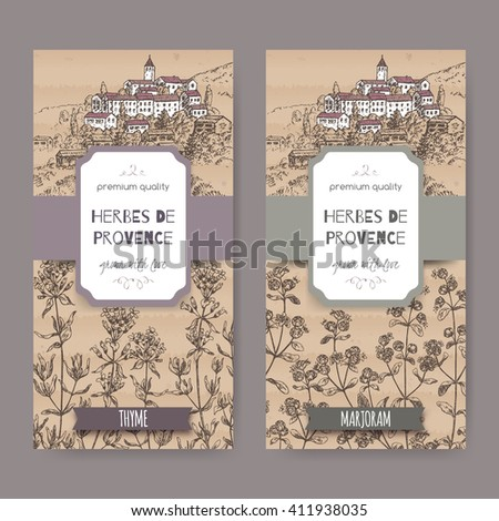 Two Herbes de Provence labels with Provence town landscape, thyme and marjoram sketch. Culinary herbs collection. Great for cooking, medical, gardening design. - stock vector