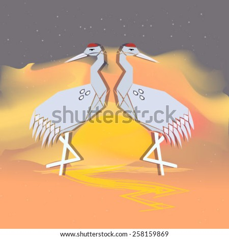 two herons origami paper at sunset vector - stock vector