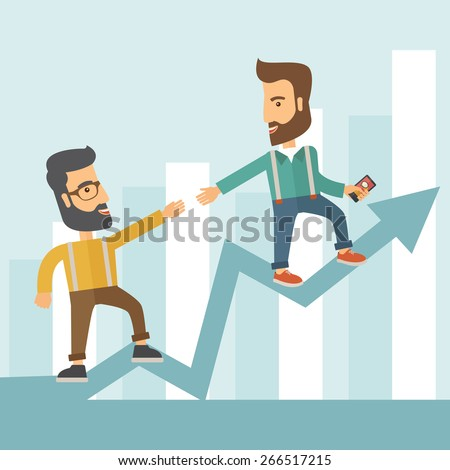 Two hipster Caucasian businessmen with beard standing working together to reach their quota in sales with the arrow up showing that they are successful. Teamwork concept. A contemporary style with - stock vector