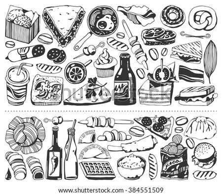Two horizontal banner - Food, Fast food (hand drawn style)