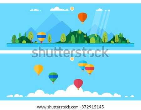 Two horizontal banner - Launch balloons. Group of balloons over the clouds - stock vector