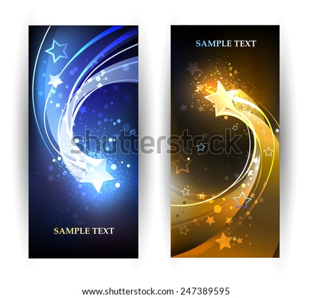 two horizontal banner with blue and gold comet.  - stock vector