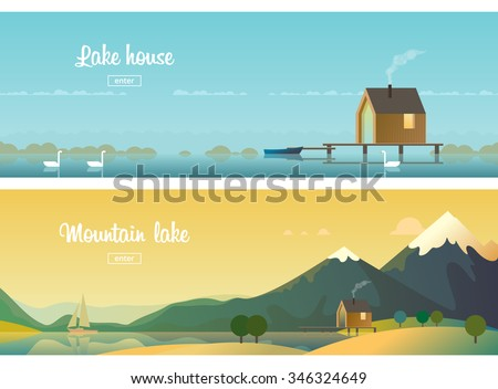 Two horizontal banners. a house on the lake. Mountain lake, sailing on the lake