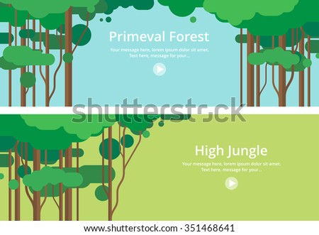 Two horizontal banners. Virgin forest, Jungle - stock vector