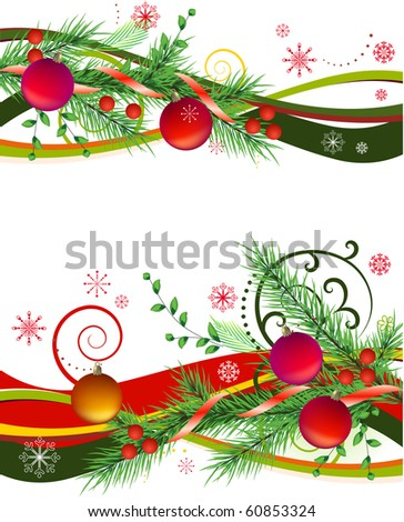 Two horizontal design elements with christmas balls and fir - stock vector
