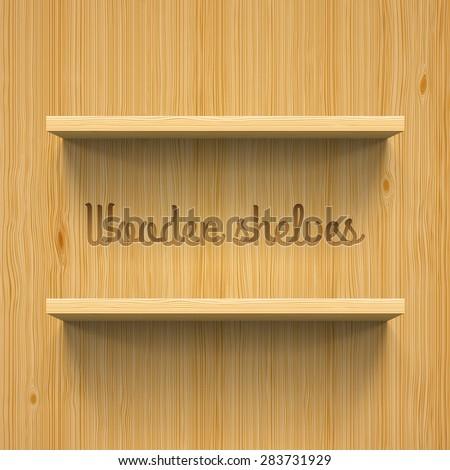 Two horizontal wooden bookshelves. Realistic illustration for design - stock vector