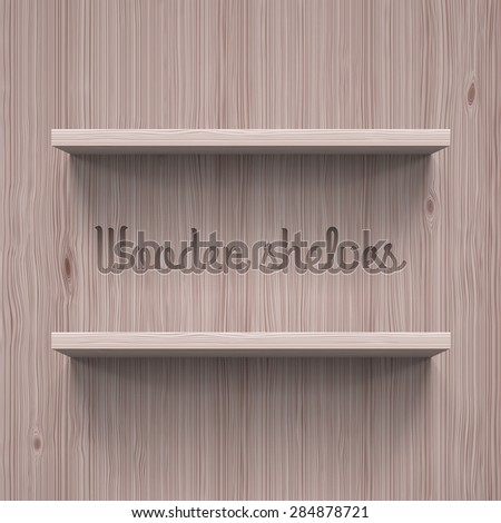 Two horizontal wooden shelves. Illustration for best design template - stock vector
