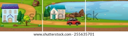 two houses by the lake - stock vector