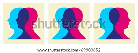 Two human heads interacting illustration. Vector file available. - stock vector