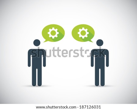 Two humans sharing innovative ideas. Head gears vector concept. - stock vector