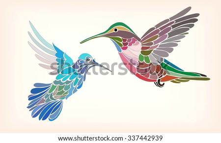 Two hummingbirds in stylized vector illustration