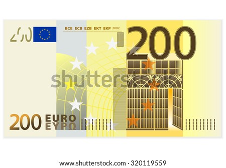 Two hundred euro banknote on a white background. - stock vector