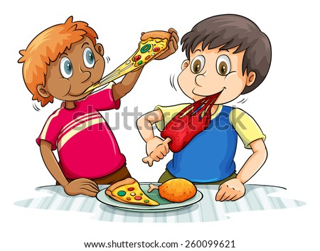 Two hungry boys eating on a white background - stock vector