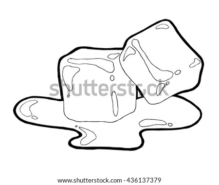 Two ice cubes on white background.Melted ice hand drawn vector illustration. Sketch style - stock vector