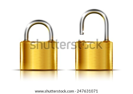 Two icons -- golden padlock in the open and closed position, isolated on white - stock vector