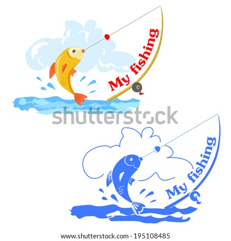 two icons with fishing, color and monochrome. vector illustration