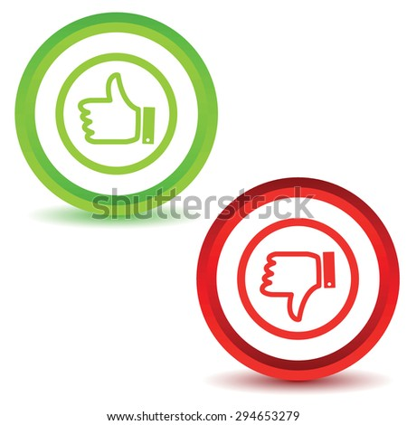 Two icons with image of like and dislike symbols, isolated on white