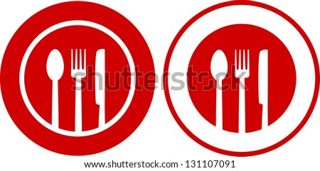two icons with plate, fork, spoon, knife on red and white background - stock vector