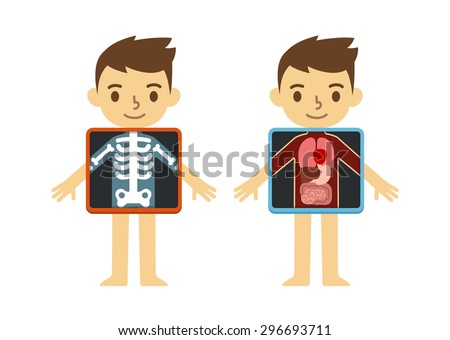 Two illustrations of cute cartoon boy with x-ray screen showing his internal organs and skeleton. Element of educational infographics for kids. - stock vector