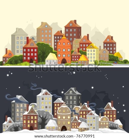 Two images of one city landscape in summer and winter time - stock vector
