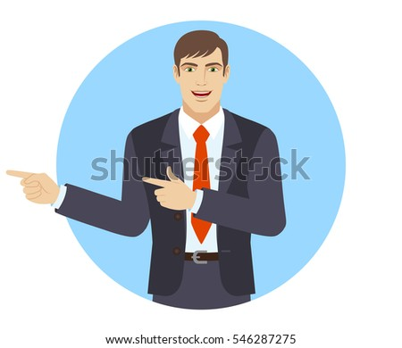 Two index fingers pointing. Businessman showing somewhere. Portrait of businessman in a flat style. Vector illustration.