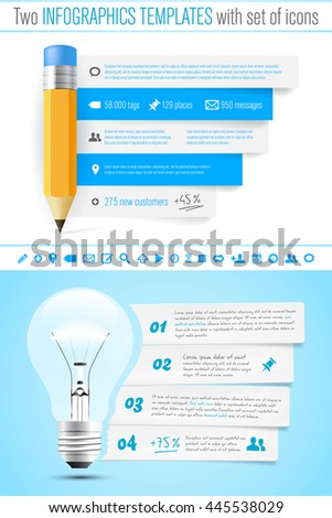 Two infographics template with pencil and bulb, sef of icons and sample text - vector illustration - stock vector